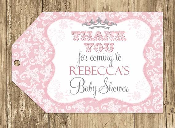 Princess Baby Shower Favor Tag Pink Damask Shower Crown Royal