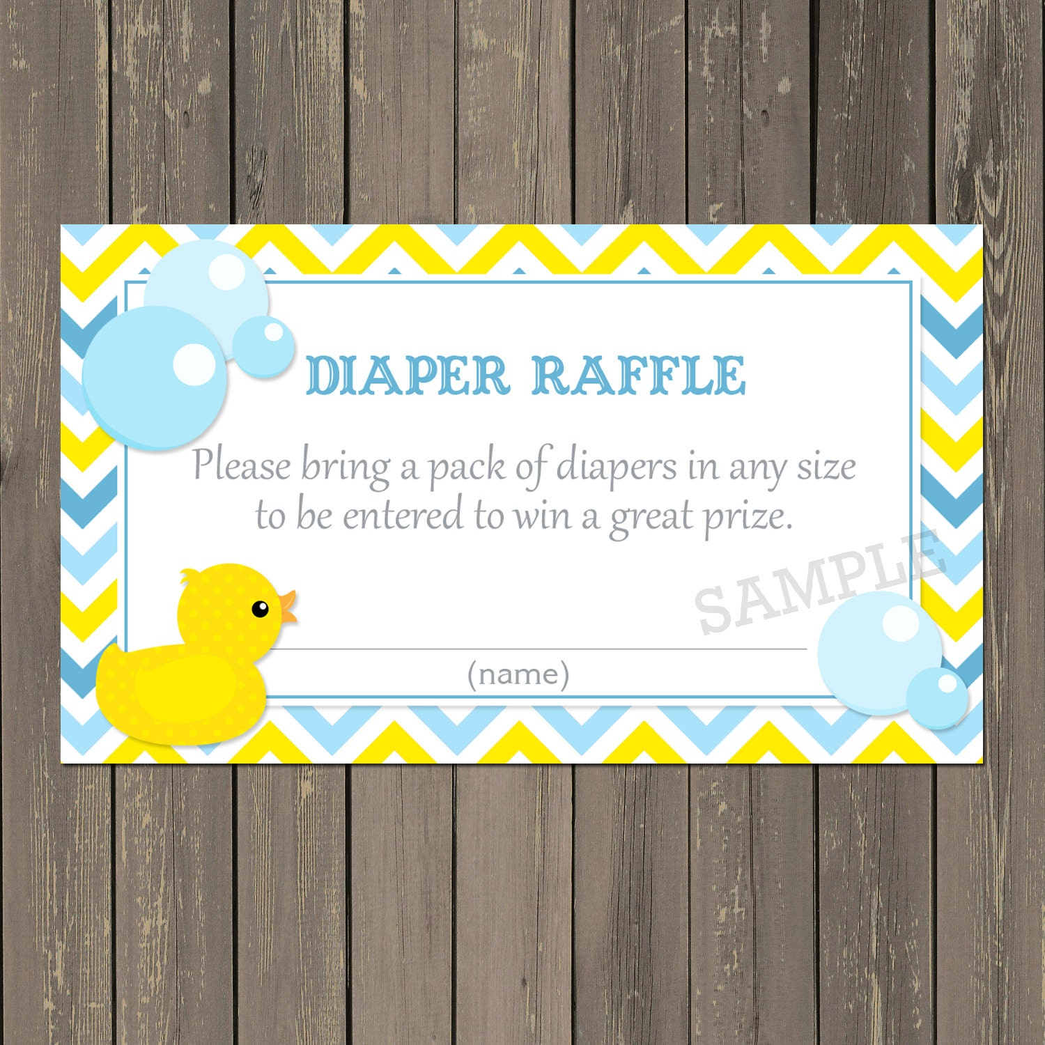 Rubber Duck Diaper Raffle Ticket Blue and Yellow Chevron Baby