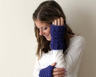 Winter SALE Fingerless Glove Wrist Warmers Knit Cobalt- Solomon Gloves