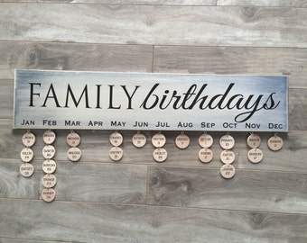 Family Birthday calendar sign with 24 discs