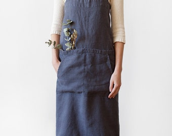 Dark Grey Pinafore Stone Washed Linen Apron