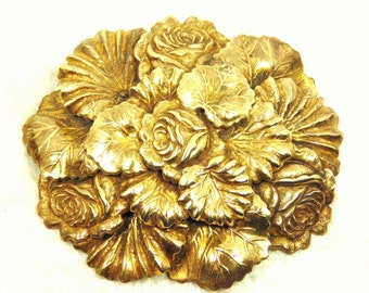 1930's Art Nouveau Style Brooch / Pin, Floral Assemblage Brass Tone, Vintage
