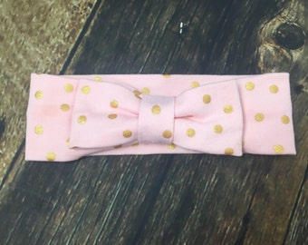 Gold dot blush bow turban headband