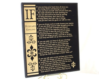 IF Poem by Rudyard Kipling Engraved on Leatherette Plaque Great Gift for Graduation