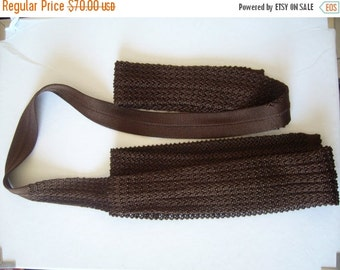 CLEARANCE %40 OFF cravate tricot/tricot tie brown/summer tie tricot/vintage necktie tricot
