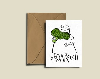 Broccoli Dinosaur birthday card. bROARccoli! Tip-top quality A6 300GSM Card for any occasion.