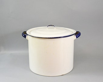 Extra Large Enamel Pot, Enamel Stock Pot with Lid, Blue and White Enamel Pot, Kitchen Enamelware, Vintage Enamel  Pot, Canning Pot