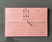 Coral Recipe Cards 4x6 - Set of 10