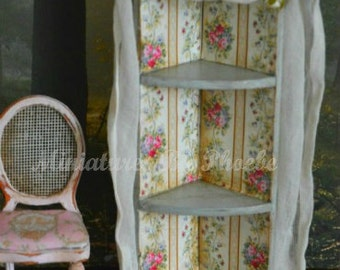 Dollhouse Gorgeous hand made Shabby Corner display cabinet. 1:12th scale Made to order,