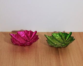 X2 bols apéritifs - feuilles de vigne en verre - 70's