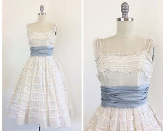 50s White Ruffle I. Magnin Cupcake Party Wedding Dress / 1950s Vintage Prom Dress / Small / Size 4