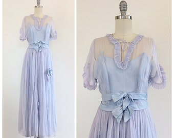 50s Pale Blue Ruffled Prom Dress - 1950s Vintage Bows Semi Sheer Evening Gown - Small - Size 4