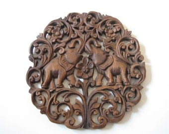 Hand wooden Carved Elephant Panel