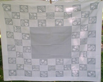 1950s era tablecloth- Gray and white vintage table cloth-- kitchen table cloth, gray and white border on gray center- cotton tablecloth