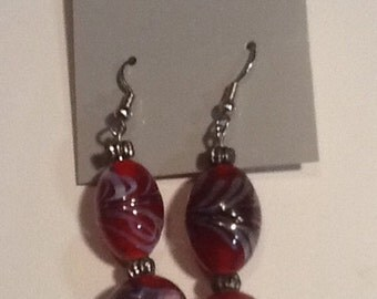 Earrings Red hand painted glass beads