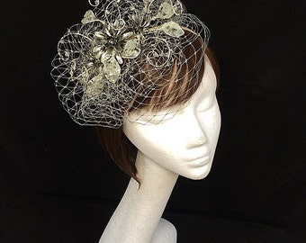 Silver fascinator, mother of the bride, Summer wedding, wedding hat, unique fascinator, silver hat