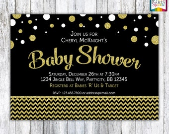 Black White and Gold Glitter Baby Shower Party Invitation - Gender Neutral - Digital Printable 4x6 or 5x7 jpg or pdf