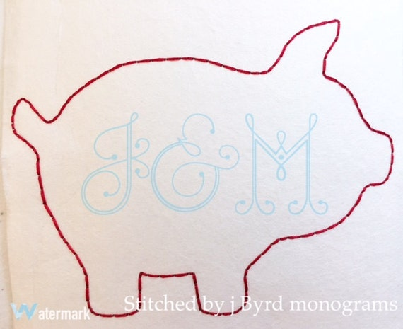 Vintage stitch outline embroidery design pig arkansas bean