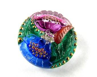 1 pc Hand Made Art Czech Glass Button Size12, 27mm Floral Design Pink-Blue (BUT236/12)