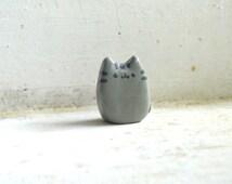 Small Mini Clay Pusheen Fat Cat Gray Kitty Figure Statue Figurine Chibi Kawaii Terrarium Decor
