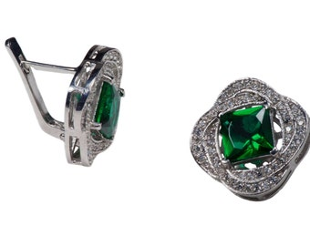 Sterling silver Earring  with Cz Zirconia and Big Green stone,
