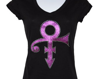New Prince Symbol in Pink V-neck T-shirt blacks size small to 3XL plus size