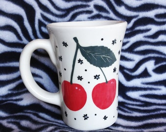 Large 20 ounce Cherry Cherries coffee cup mug ceramic pottery OHIO USA hand made handmade Rockabilly