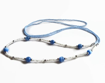 Seed bead necklace, long necklace, blue and white, cats eye beads, layer necklace, boho necklace, ice blue