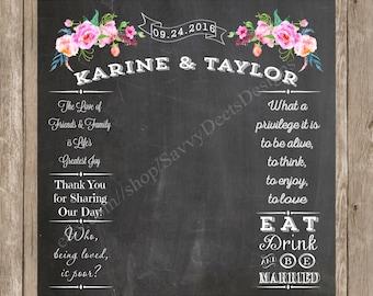 Peony Wedding Photo Backdrop Chalkboard Printable - Peony Wedding - Wedding Backdrop - Chalkboard Photo Backdrop - Wedding Photo Backdrop