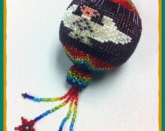 Angel Globe Seed Bead Ornament  (MM030)