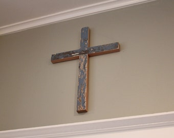 Rustic Reclaimed Wood Cross - Wooden - Distressed - Christian - Simple - Chippy