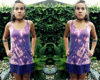 Tie dye lace dress Purple/Pink