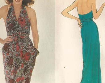 UNCUT 7696 Vogue Sewing Pattern Fitted & Flared Halter Front Wrap Dress Size 12 Vintage 1970s 34B