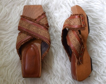 70s Wooden Sandals/ Brown Woven Raffia Wedges/ Triabal Cherokee Shoes/ Women's Size 5 6