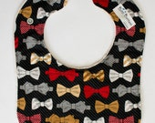 Red and Tan Bow Tie Baby Bib, Cute Baby Bib, Baby Shower Gift Ideas, Baby Boy