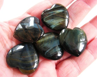 blue tigers eye crystal heart, crystal lot, mineral, new age, metaphysical