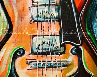 Violin Art, Violin Painting, Violin Home Decor, Music Art hand painted** by Sheila A. Smith