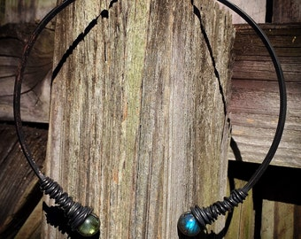 Oxidized Copper & Labradorite Torque necklace