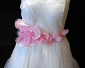 A Baby Pink Chiffon  Organza floral bridal wedding gown ribbon sash belt is for sale.Perfect for weddings and parties.