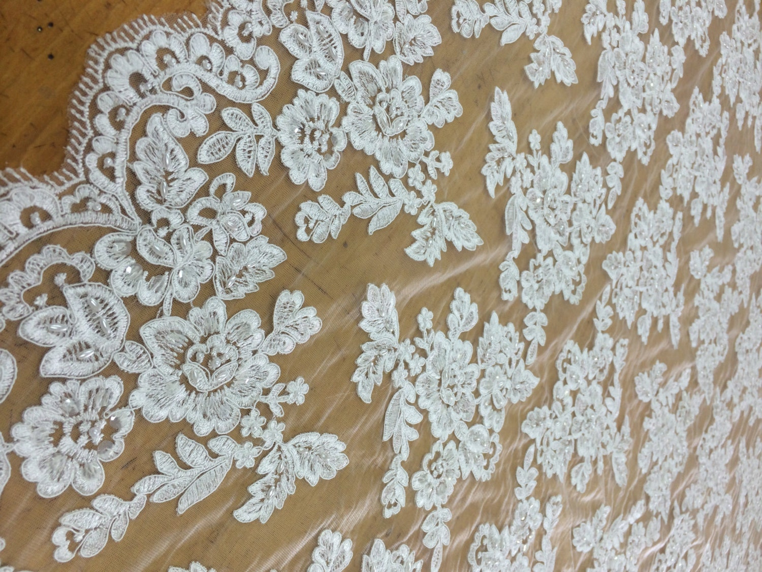white beaded lace fabric by the yard lace alencon