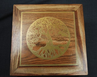 Tree of Life hand crafted caribbean rose woodurn with gold inlay