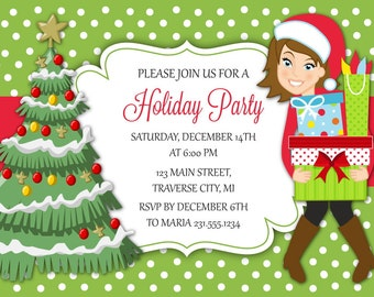 Christmas Party Invitations Printable Shopping Wrapping Invitation