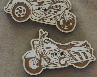 Motos 2 - Set of 3 decorative buttons made from MDF with white lacquer.  Great addition to your stitching projects.  Made in France