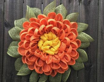 Fall Wreath - Fall Dahlia - Autumn Wreath - Fall Decor - Front Door Wreath - Handmade Wreath - Fall Decorations - Fall Leaves - Housewarming
