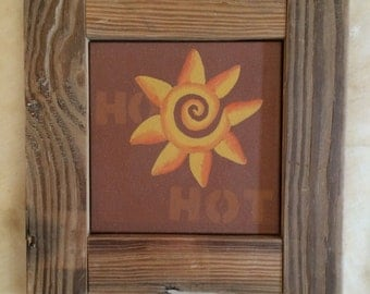 Hot Spiral Sun, Hand-Painted Southwestern Style Art with Reclaimed Wood Frame