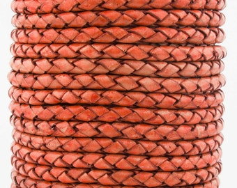 Orange Natural Dye Genuine Round Bolo Braided Leather Cord 3 mm 1 Yard