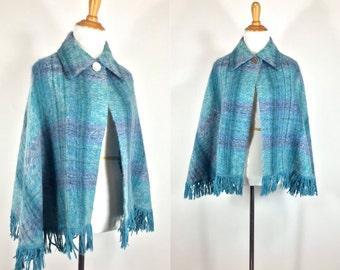 ON SALE Vintage 1970s Cape | 70s Blue Plaid Mohair Wool Fringed Sweater Cape | S M L
