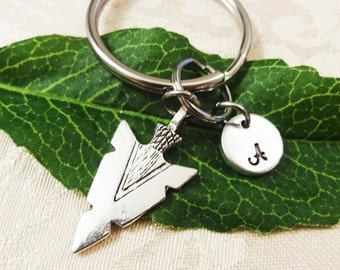 "ARROWHEAD KEYCHAIN with initial charm - Read ""item details"" & see all photos - one flat rate shipping in my shop :)"