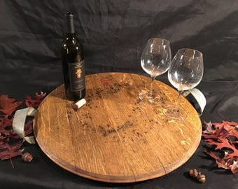 Extra large serving tray from wine barrel head