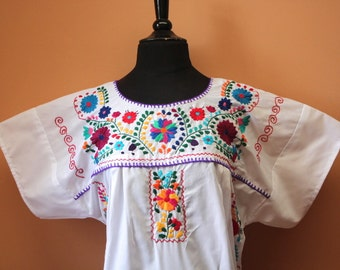 Frida Style Colorful Mexican Dress with Embroidered Flowers- White- Summer-BOHO-Hippie